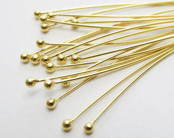 Ball Tip Head Pin - 2mm - 22ga: 45 Pieces - 24KT Gold Over Copper
