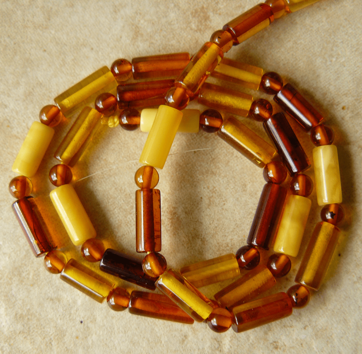 Baltic Amber Ball and Tube mix color Beads 4mm Balls 4x10mm tubes