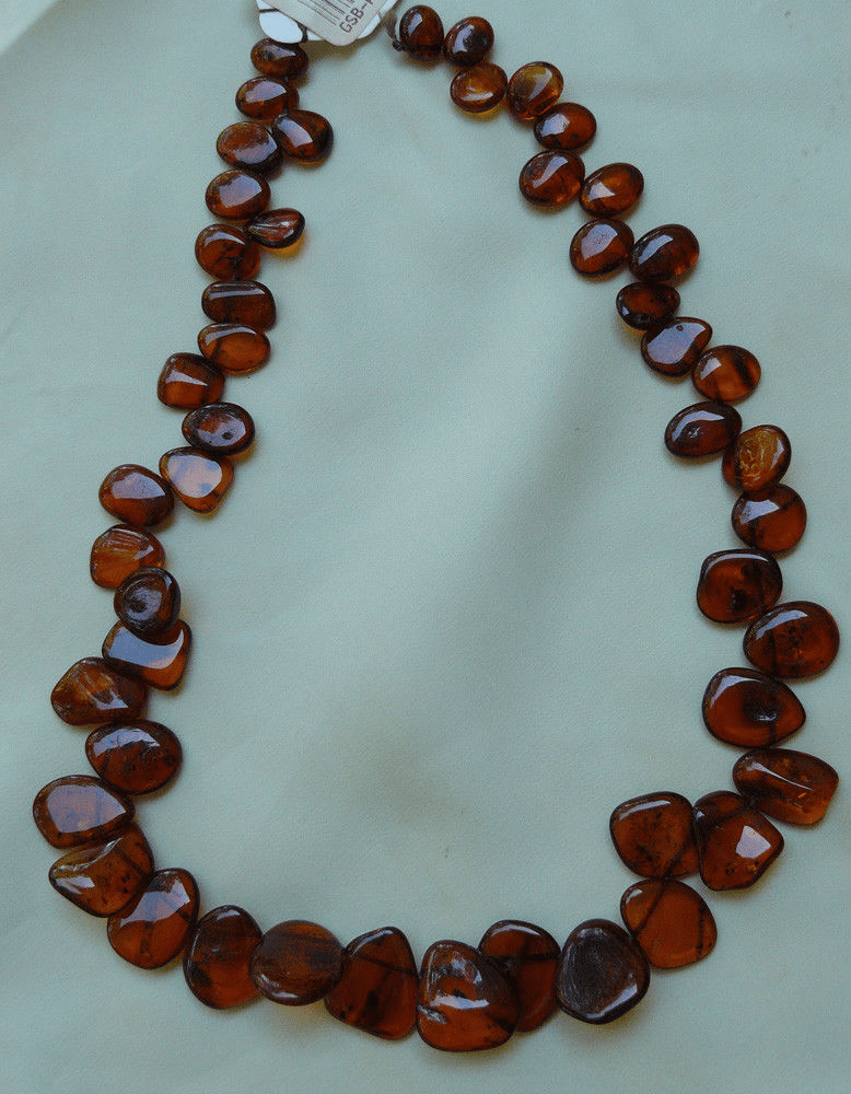 """Baltic Amber freeform beads cherry color 16"""" strands side drilled"""