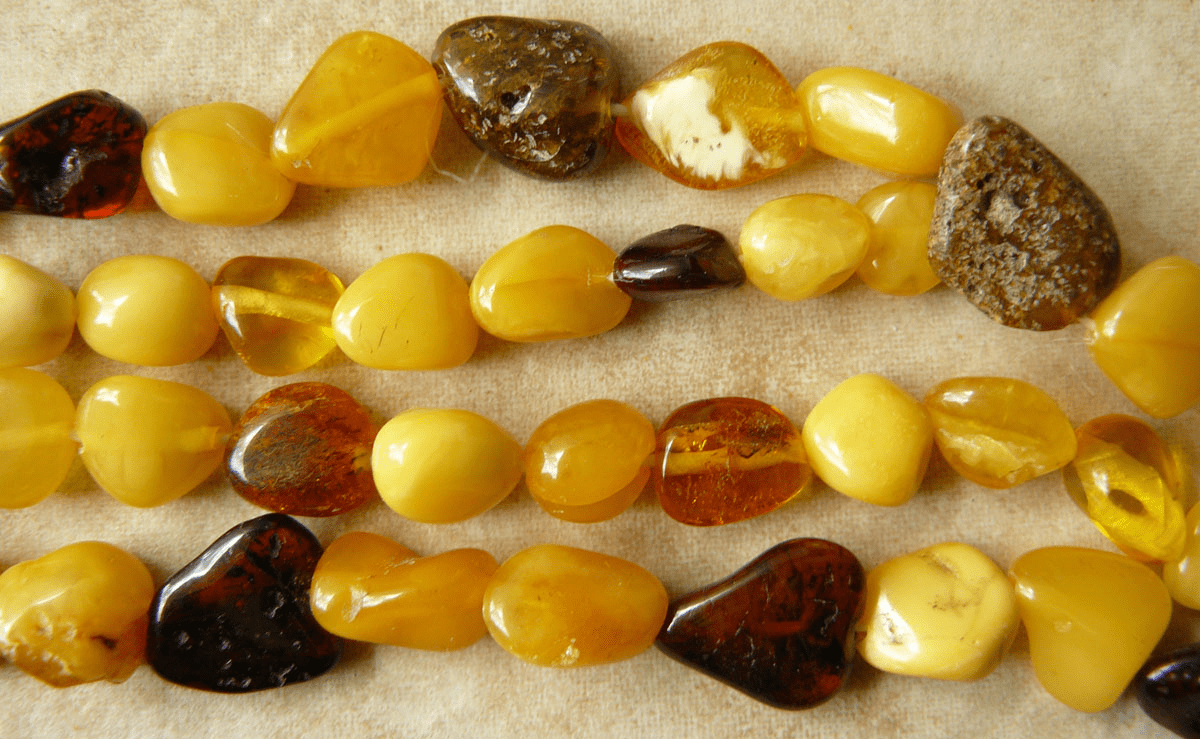 "Baltic Amber Multi color Amber Smaller Nuggets 30"" Strands"
