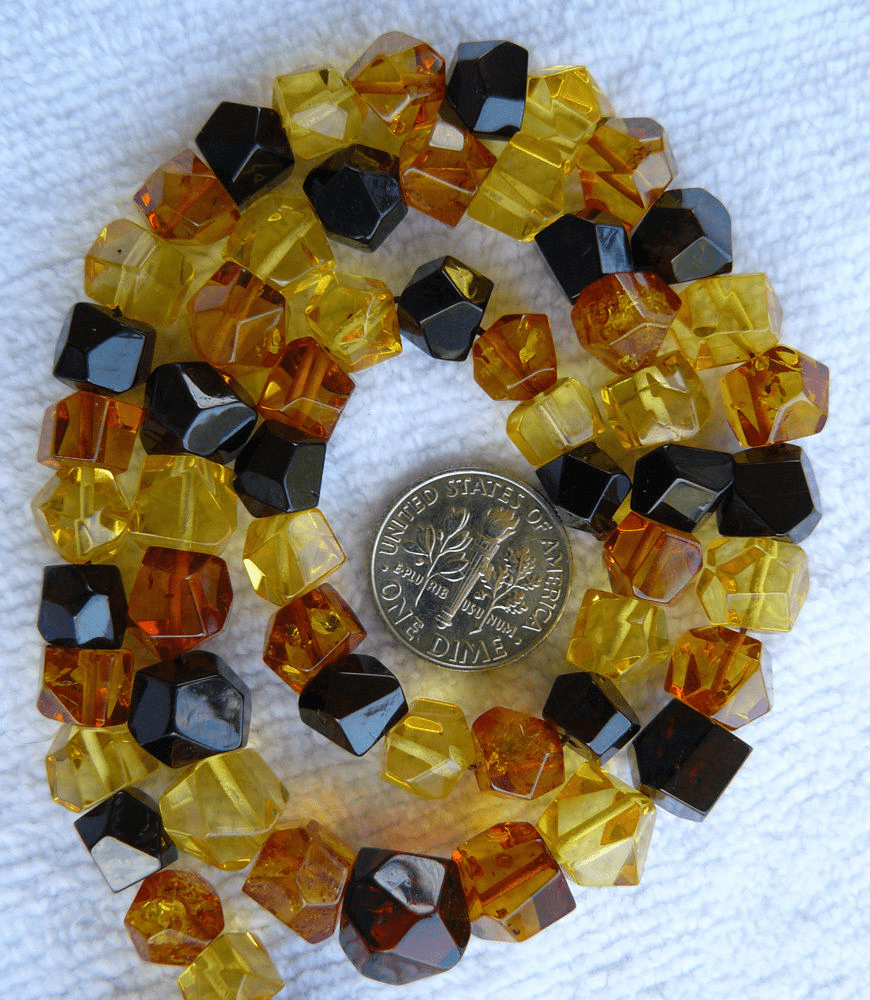 "Baltic Amber multi color faceted nuggets 16"" strand 8mm"