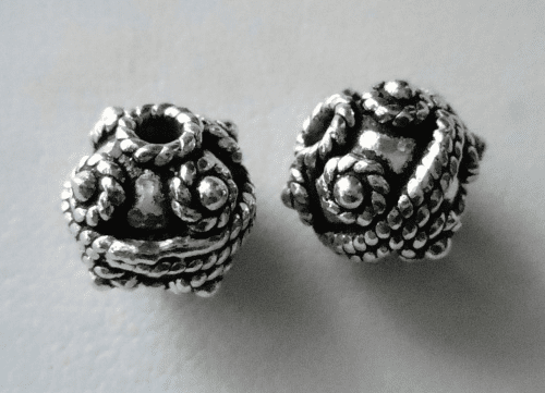 Bead - 10mm - 2 Beads - Sterling Silver<br> B47