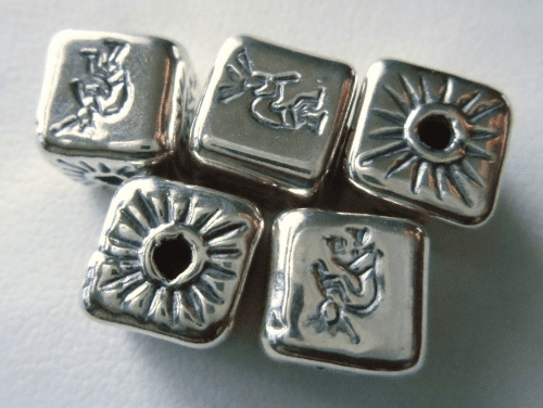 Bead - 10x10mm - 5 Beads - Sterling Silver<br>MB17