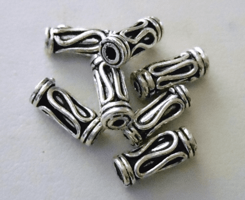 Bead - 10x4mm - 7 Beads - Sterling Silver<br>B61