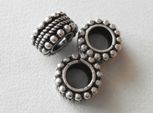 Bead - 10x5mm - 3 Beads - Sterling Silver<br>B72