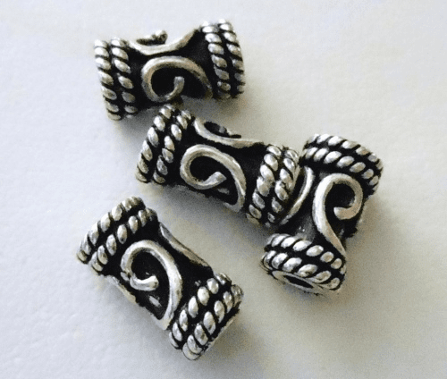 Bead - 10x5mm - 4 Beads - Sterling Silver<br>B62