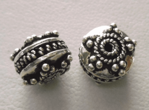 Bead - 10x7mm - 2 Beads - Sterling Silver<br>B39