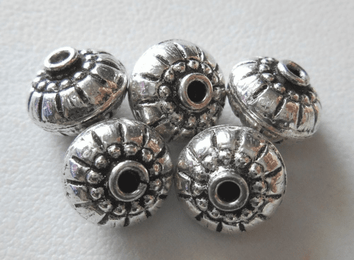 Bead - 10x8mm - 5 Beads - Sterling Silver<br>B97