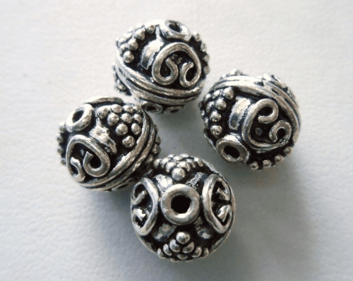 Bead - 11mm - 4 Beads - Sterling Silver<br>MB28