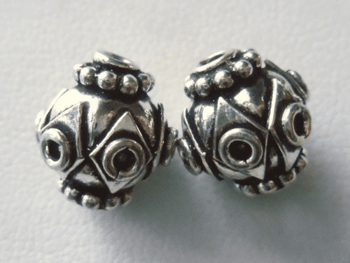 Bead - 11x12mm - 2 Beads - Sterling Silver<br>MB21