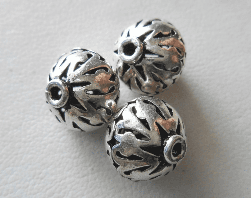 Bead - 12mm - 3 Beads - Sterling Silver<br>B83-12