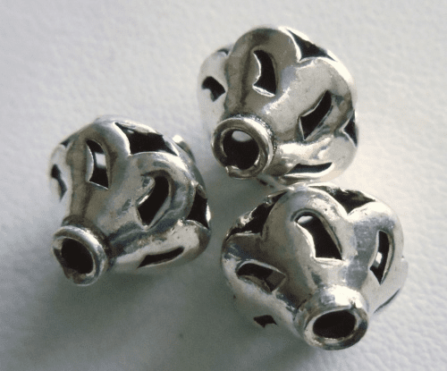 Bead - 12x12mm - 3 Beads - Sterling Silver<br>MB1
