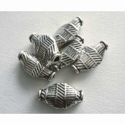 Bead - 13x7mm - 6 Beads - Sterling Silver<br>MB5
