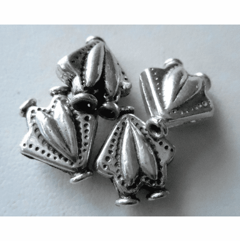 Bead - 14x12mm - 4 Beads - Sterling Silver<br>B49