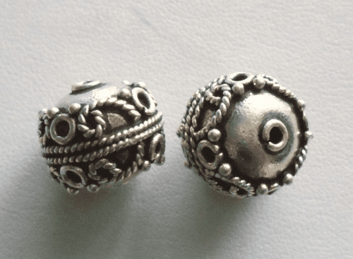 Bead - 14x17mm - 2 Beads - Sterling Silver<br>MB7