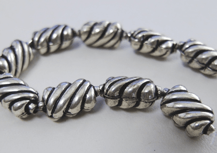 Bead - 15x8mm - 13 Beads - .999 Silver Over Copper<br>SCBK108