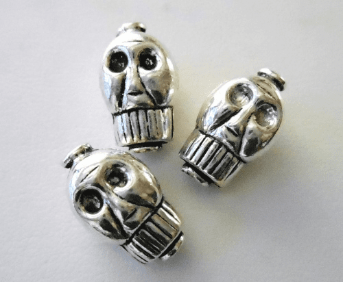Bead - 15x9mm - 3 Beads - Sterling Silver<br>B68