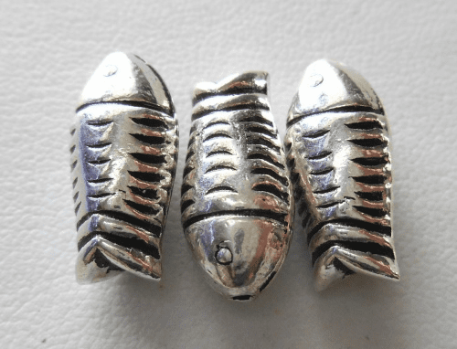 Bead - 18x8mm - 3 Beads - Sterling Silver<br>B90