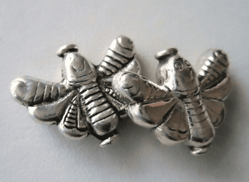 Bead - 21x17mm - 2 Beads - Sterling Silver<br>B50