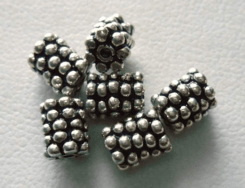 Bead - 5x6mm - 7 Beads - Sterling Silver <br>B10-5