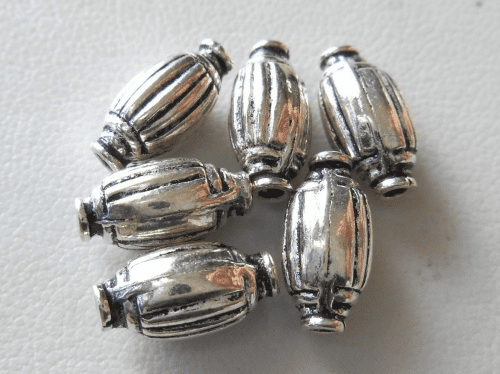 Bead - 6x12mm - 6 Beads - Sterling Silver<br>B105