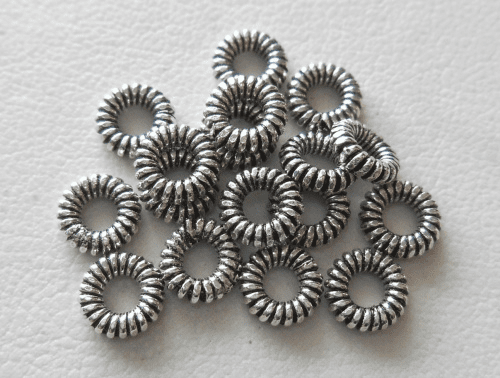 Bead - 6x1mm - 17 Beads - Sterling Silver<br>B91