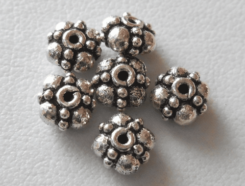 Bead - 6x3mm - 6 Beads - Sterling Silver<br>B102