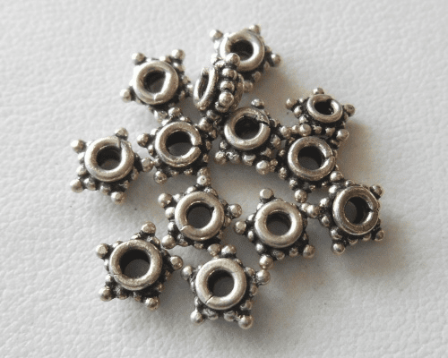 Bead - 7mm - 12 Beads - Sterling Silver<br>B73-7