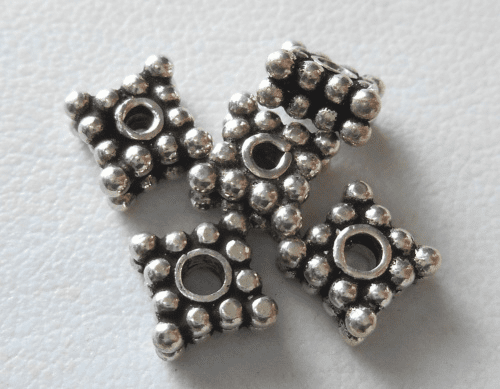 Bead - 7x3mm - 5 Beads - Sterling Silver<br>B92