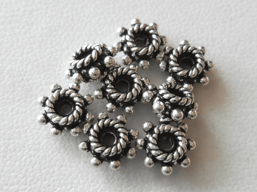 Bead - 7x3mm - 9 Beads - Sterling Silver<br>B70