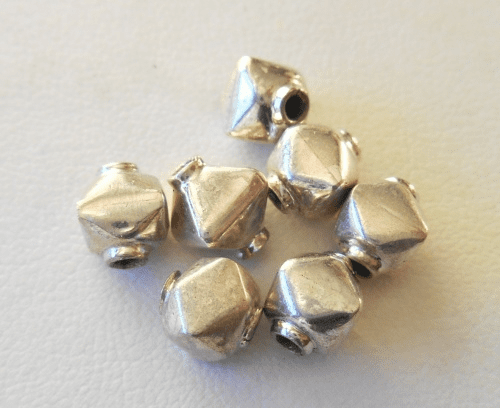 Bead - 7x7mm - 7 Beads - Sterling Silver<br>B66