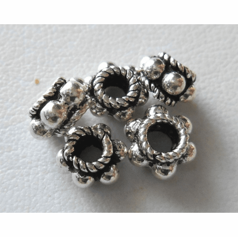 Bead - 8x5mm - 5 Beads - Sterling Silver<br>B94