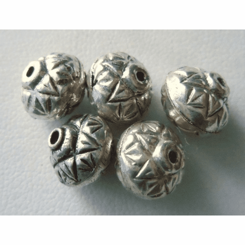 Bead - 9x10mm - 5 Beads - Sterling Silver<br>MB8