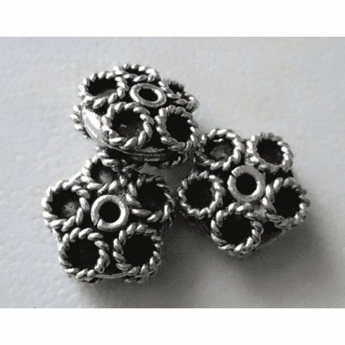 Bead - 9x5mm - 3 Beads - Sterling Silver<br>B43