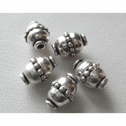Bead - 9x6mm - 5 Beads - Sterling Silver<br>B128