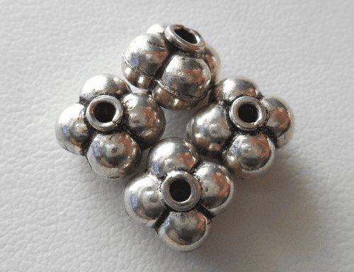 Bead - 9x7mm - 4 Beads - Sterling Silver<br>B88
