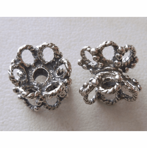 Bead Cap - 10x11mm - 2 Caps - Sterling Silver<br>Z1368