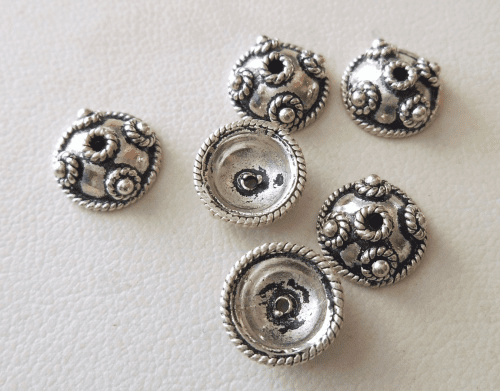 Bead Cap - 10x4mm - 6 Caps - Sterling Silver<br>BC1