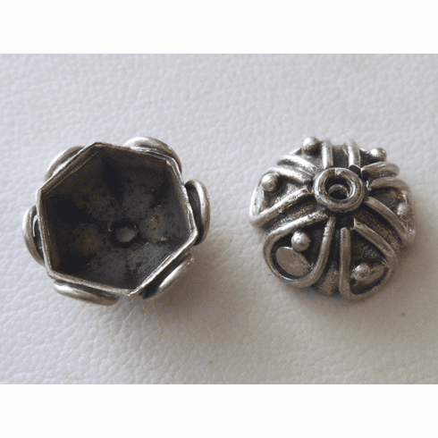 Bead Cap - 13x6mm - 2 Caps - Sterling Silver<br>BC23
