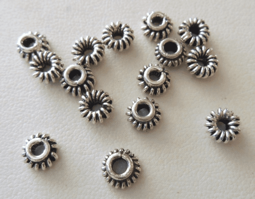 Bead Cap - 6x3mm - 15 Caps - Sterling Silver<br>BC14