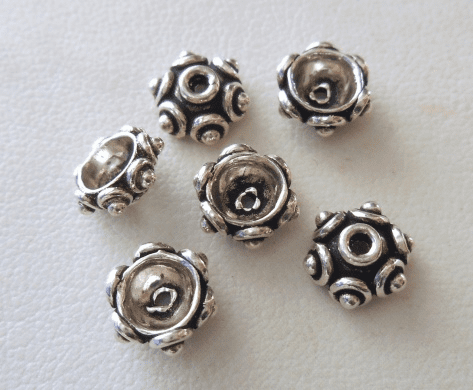 Bead Cap - 8x4mm - 6 Caps - Sterling Silver<br>BC12