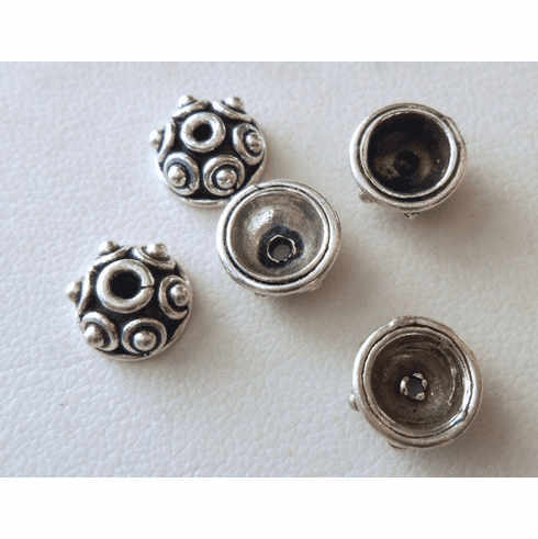 Bead Cap - 9x4mm - 5 Caps - Sterling Silver<br>BC2