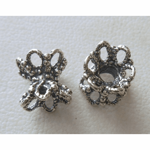 Bead Cap - 9x9mm - 2 Caps - Sterling Silver<br>Z1370