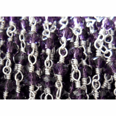 Beaded Chain By-the-Foot - Amethyst - .999 Silver Over Copper<br>SCBKCH-G1