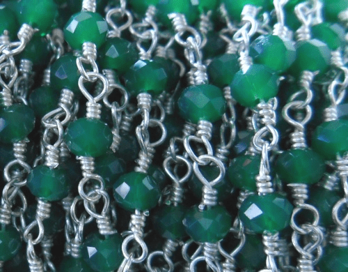 Beaded Chain By-the-Foot - Emerald - .999 Silver Over Copper<br>SCBKCH-G1