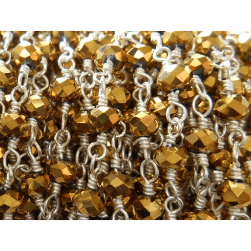 Beaded Chain By-the-Foot - Gold Pyrite - .999 Silver Over Copper<br>SCBKCH-G1