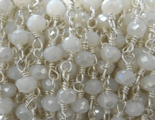 Beaded Chain By-the-Foot - Pearlescent White - .999 Silver Over Copper<br>SCBKCH-G1