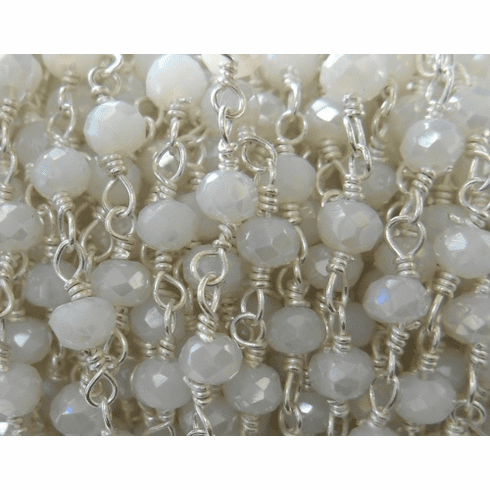 Beaded Chain By-the-Foot - Rainbow Moonstone - .999 Silver Over Copper<br>SCBKCH-G1