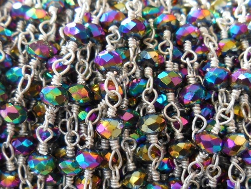 Beaded Chain By-the-Foot - Rainbow Pyrite - .999 Silver Over Copper<br>SCBKCH-G1