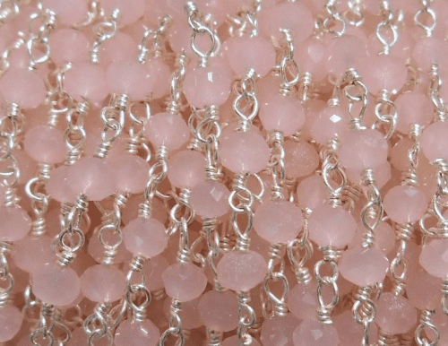 Beaded Chain By-the-Foot - Rose Quartz - .999 Silver Over Copper<br>SCBKCH-G1